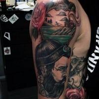 Cool vintage style nautical themed sailor portrait shoulder floral tattoo