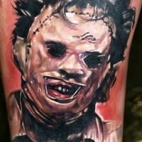 fresco eroe zombie stile film orrore colorato tatuaggio su braccio