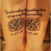coppia celtico amicizia con data tatuaggio su due braccia