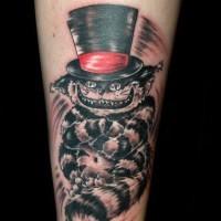 pazzo gatto cheshire tatuaggio mezza manica