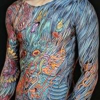 Kreatives buntes ganzes Körpertätowierung der verschiedenen Blätter