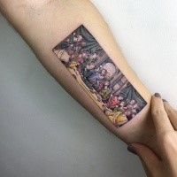 Creative painted colored forearm tattoo of religious picture