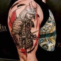 Creative style colored upper arm tattoo of samurai soldier