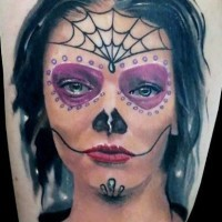 Creepy black haired santa muerte tattoo