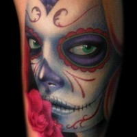 Creepy day of the dead girl with green eyes tattoo