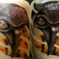 Creepy horror style tattoo of plague doctors mask with demonic symbol