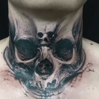 Creepy looking 3D style throat tattoo of demonic human skull
