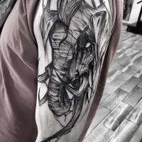 Tatuaggio di elefante di Inez Janiak con inchiostro nero da brivido
