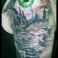 Gruselig aussehendes farbiges Schulter Tattoo mit der mystischen Ruinen und grünen Augen