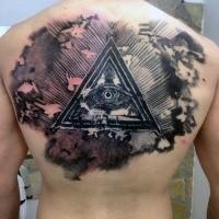 Tatuaggio dall'aspetto inquietante colorato sul retro del triangolo misterioso con l'occhio