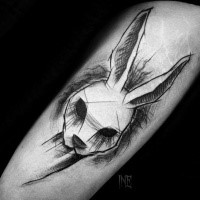 Creepy looking designed by Inez Janiak tattoo sketch of rabbit head