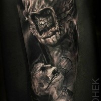 Creepy looking detailed arm tattoo of evil monsters