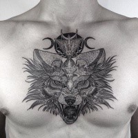 Creepy looking dot style chest tattoo of demonic wolf with symbols