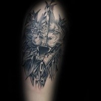 Creepy looking tattoo of evil corrupted lion portrait