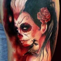 Creepy new style santa muerte tattoo