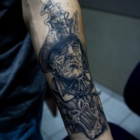 Creepy realistic looking black ink old pirate tattoo on arm
