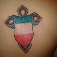 Cross with italian flag tattoo