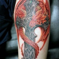 Cross with red dragon tattoo for men
