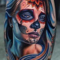 Crying santa muerte girl with red flower on forehead tattoo