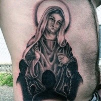 Crying Virgin Mary and prayin children dark religious huge side tattoo