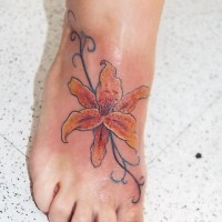 Curl tiger lily sexy foot tattoo