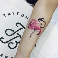 Cute 3D like colored forearm tattoo of flamingo bird