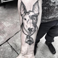 Cute black ink painted by Inez Janiak forearm tattoo of dog portrait