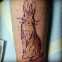 Tatuaggio carino sulla gamba il coniglio