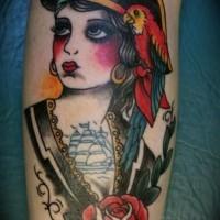 Cute cartoon ink pirate face tattoo