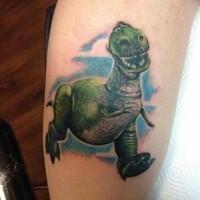 Cute cartoon running dinosaur realistic tattoo on forearm with blue shadow