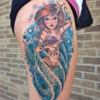 Cute cartoon style colored sexy mermaid tattoo on thigh area