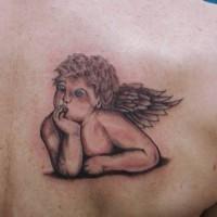 Tatuaggio piccolo sulla spalla l'angelo pensieroso