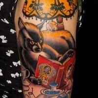 bel gatto divertente colorato tatuaggio sulla spalla