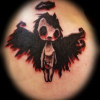 Tatuaggio stilizzato l'angelo nero rosso