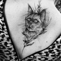 Cute designed by Inez Janiak tattoo of cat with flowers