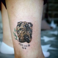 Cute dog's portrait colored memorial tattoo with date on ankle