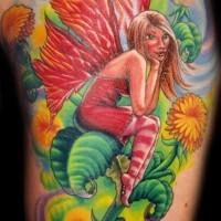 Cute fairy  sitting on dandelion flower multicolored fairy tale tattoo