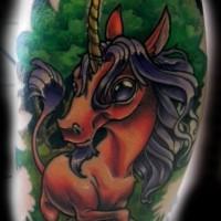Tatuaje  de unicornio joven fantástico divertido