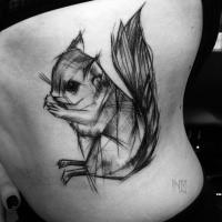 Bonito engraçado olhando pintado por Inez Janiak tatuagem de esquilo pequeno