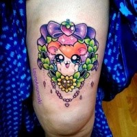 Cute illustrative glowing thigh tattoo of small animal with bow