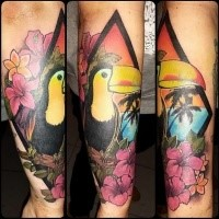 Cute illustrative style colored parrot tattoo on forearm with flowers and palm trees