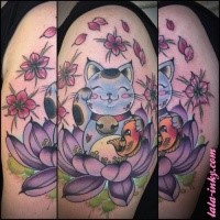 Cute illustrative style colored shoulder tattoo of maneki neko japanese lucky cat with lotus flower and carp fosh