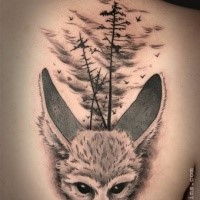 Cute illustrative style scapular tattoo of wild animal with forest