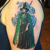 Cute illustrative style shoulder tattoo of Harry Potter movie wizard