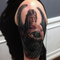 Cute illustrative style shoulder tattoo of seductive angel woman