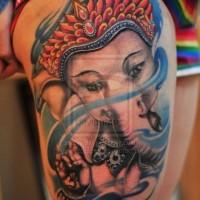Cute indian ganesha tattoo on thigh