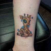 Nette kleine bunte Giraffe Tattoo