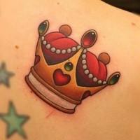 bella piccola corona rossi e dorati colori tatuaggio