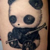 Cute little panda with bamboo tattoo
