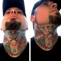 Cute looking colored neck tattoo of cute birds and star